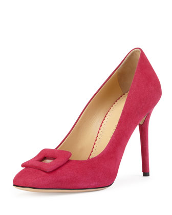 Catherine Suede Square-Buckle Pump, Magenta