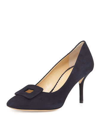 Catherine Suede Buckle Pump