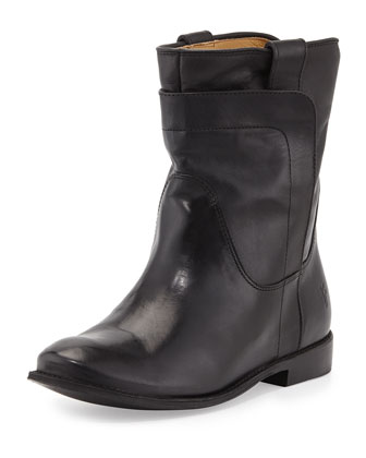 Paige Leather Short Boot, Black