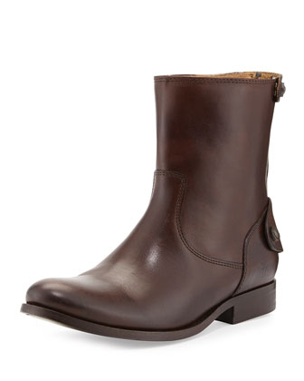 Melissa Zip/Button Short Boot, Dark Brown