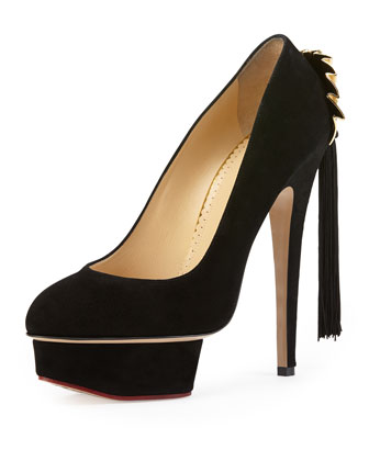 Fantastic Dolly Suede Fan Tassel Pump, Onyx