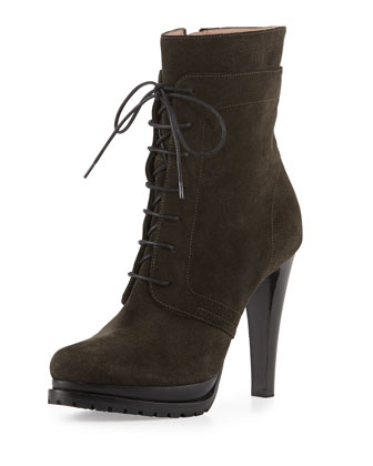 Military Suede Lace-Up Zip Boot, Dark Gray