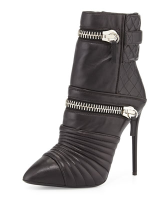 Quilted Leather Double-Zip Boot, Nero