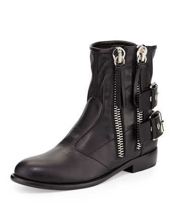 Double-Zip Moto Ankle Boot, Nero