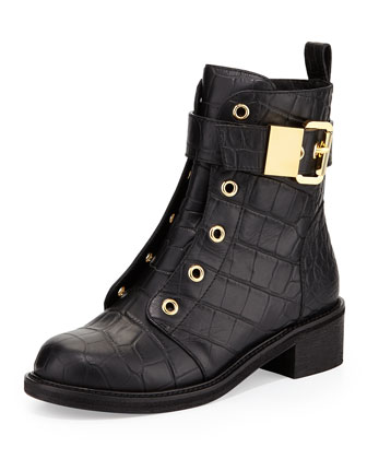 Croc-Embossed Leather Moto Boot, Nero