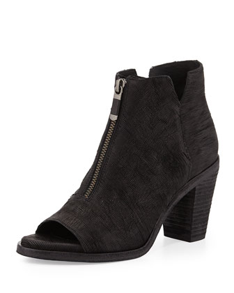 Clique Leather Peep-Toe Bootie, Black