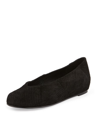 Quilt Striped Corduroy Slipper Flat, Black