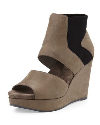 Still High Leather Wedge, Thunder
