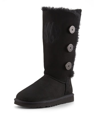 Monogrammed Bailey Triple Button Boot, Black