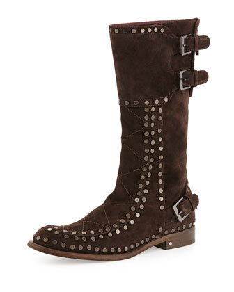 Gavroche Suede Mid-Calf Boot, Dark Brown