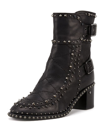 Badely Double-Buckle Boot, Black/Ruthenium