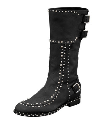 Baltazar Stud Buckle Mid-Calf Boot, Black/Ruthenium