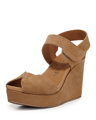 Marila Peep-Toe Suede Wedge