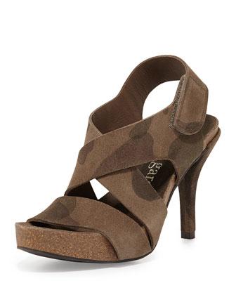 Lynna Suede High-Heel Sandal, Olive Camo
