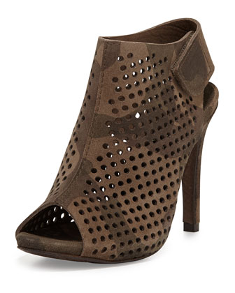 Sofia Perforated Suede Bootie, Olive Camo