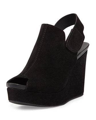 Melania Peep-Toe Slingback Wedge