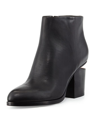 Gabi Tumbled Leather Lift-Heel Ankle Boot, Black