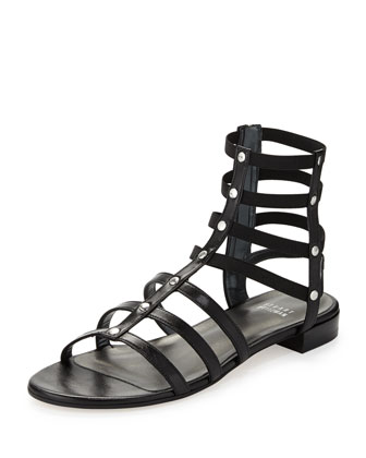 Caesar Stretch Gladiator Sandal, Black (Made to Order)