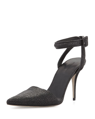 Lovisa Textured Ankle-Wrap Pump, Black