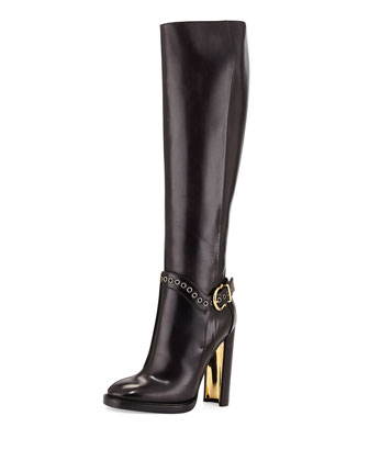 Nadix Harness-Strap Knee Boot, Dark Gray