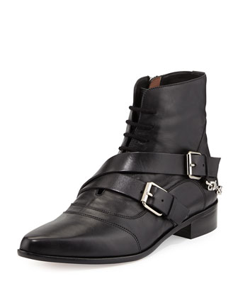 Double-Buckled Lace-Up Ankle Boot,Black