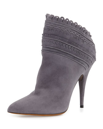 Harmony Scalloped Ankle Boot, Gray