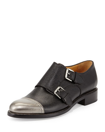 Cap-Toe Monk-Strap Loafer, Tumbled Black