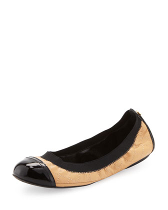 Carrie Quilted Cap-Toe Ballerina Flat, Sandbox/Black