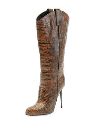 Leather Mid-Calf Western-Cut Stiletto Boot, Brown/Gunmetal