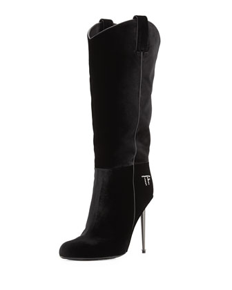 Velvet Mid-Calf Western-Cut Stiletto Boot, Black/Gunmetal