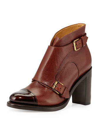 Pebbled Leather Cap-Toe Bootie, Cognac