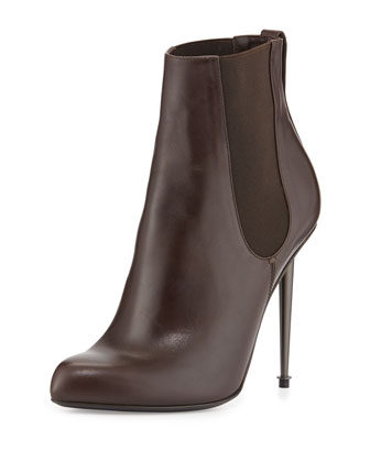 Metal-Heel Leather Ankle Boot, Chocolate