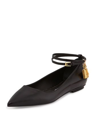 Padlock Ankle-Wrap Ballerina Flat, Black