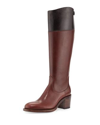 Bicolor Mid-Heel Tall Boot