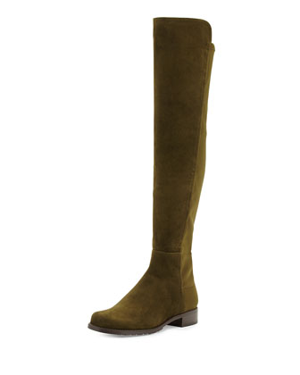 50/50 Suede Over-the-Knee Boot, Olive (Made to Order)