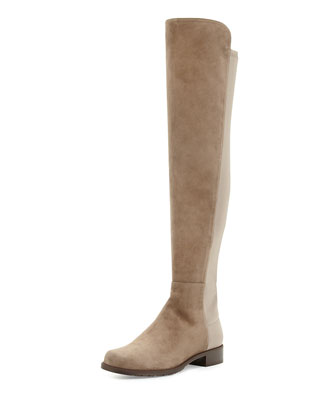50/50 Suede Over-the-Knee Boot, Praline