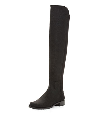 50/50 Pindot Over-the-Knee Boot, Black