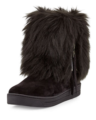 Furry Fold-Over Ankle Boot
