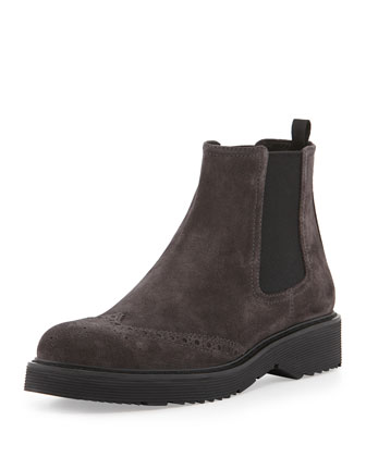 Suede Wing-Tip Chelsea Boot, Anthracite