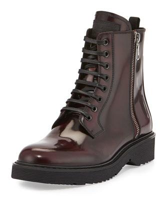 Spazzolato Side-Zip Combat Boot, Granato