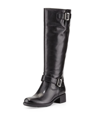 Leather Moto Knee Boot