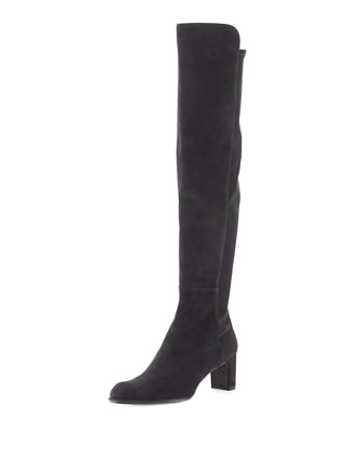 Demiswoon Suede To-the-Knee Wedge Boot, Black/Navy