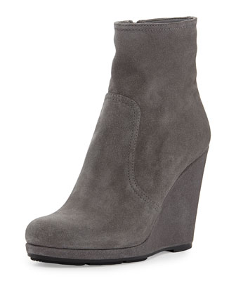 Suede Wedge Ankle Boot, Ghiaia