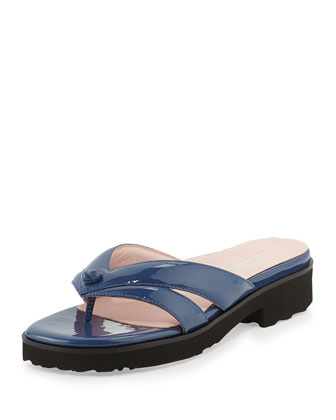 Tacy Patent Thong Sandal, Blue
