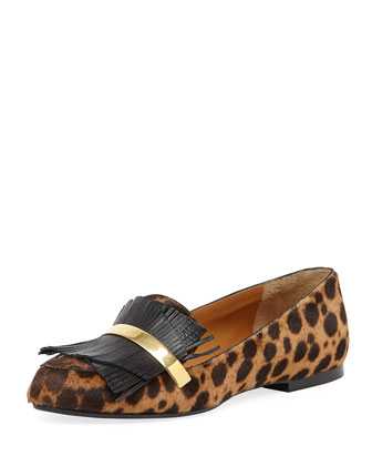 Leopard-Print Calf Hair Fringe Loafer