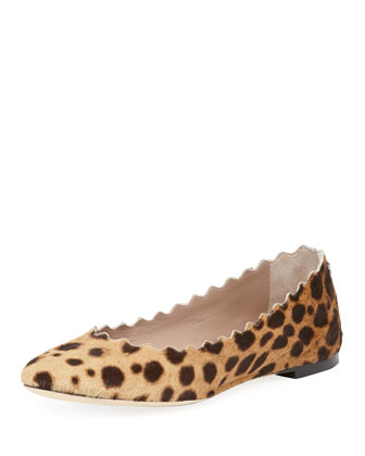 Scalloped Calf Hair Ballerina Flat, Leopard