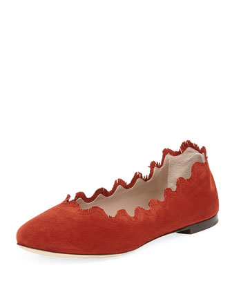 Scalloped Fringe Suede Ballerina Flat, Poppy Red