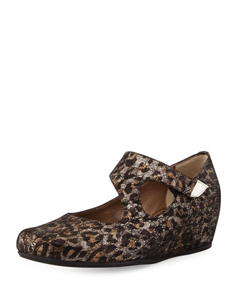Shirlee Metallic Leopard-Print Suede Grip-Strap Wedge