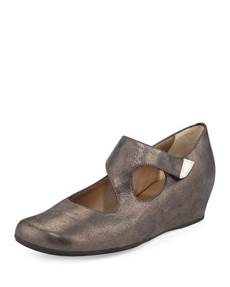 Shirlee Metallic Suede Grip-Strap Wedge, Graphite