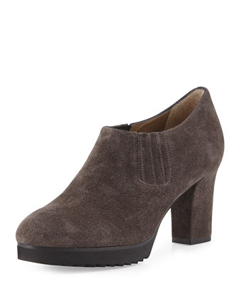 Natalie Suede Ankle Bootie, Graphite